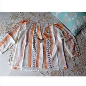 Sundance Catalog $138 peasant boho embroidered top